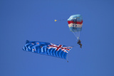 Rnzaf Sky Diving, New Zealand Flag, Warbirds over Wanaka, South Island New Zealand Photographic Print by David Wall