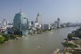 Downtown Bangkok Skyline View with Chao Phraya River, Thailand Fotografie-Druck von Cindy Miller Hopkins