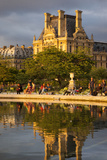Pond, Jardin Des Tuileries with Musee Du Louvre Beyond, Paris, France Photographic Print by Brian Jannsen