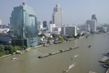 Downtown Bangkok Skyline View with Chao Phraya River, Thailand Fotografie-Druck von Cindy Miller Hopkins