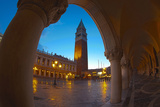 San Marcos Square at Night with Reflections, Venice, Italy Photographic Print by Terry Eggers