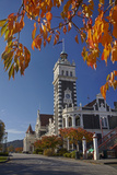 Autumn and Historic Train Station, Dunedin, Otago, South Island, New Zealand Photographic Print by David Wall