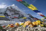 Tents of Mountaineers Scattered Along Khumbu Glacier, Base Camp, Mt Everest, Nepal Fotografisk tryk af David Noyes