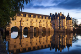 Twilight over Chateau Chenonceau and River Cher, Indre-Et-Loire, Central France Photographic Print by Brian Jannsen