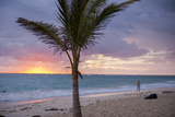 Man Jogging at Sunrise, Bavaro, Higuey, Punta Cana, Dominican Republic Photographic Print by Lisa S. Engelbrecht
