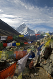 Prayer Flags, Everest Base Camp Trail, Peak of Ama Dablam, Nepal Photographic Print by David Noyes