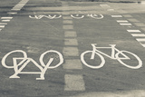 Bicycle Path Road Markings, Vancouver, British Columbia, Canada Photographic Print by Walter Bibikow