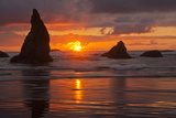Sunset Silhouettes Seastacks, Bandon Beach, Oregon, USA Photographic Print