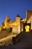 Twilight, Fortification, La Cite Carcassonne, Languedoc-Roussillon, France Photographic Print by Brian Jannsen