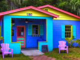 Colorful Building in Historic Darien, Georgia, USA Photographic Print by Joanne Wells