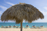 Straw Umbrella and Chairs on the Beach, Trinidad, Cuba Photographic Print by Keren Su