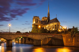 Twilight over Cathedral Notre Dame and River Seine, Paris, France Photographic Print by Brian Jannsen