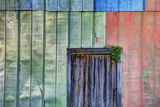 Colorful Old Tin Shed with Wooden Door, Apalachicola, Florida, USA Photographic Print by Joanne Wells