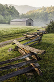 Pioneer's Barn, Split Rail Fence, Cades Cove, Great Smoky Mountains National Park, Tennessee, USA Photographic Print