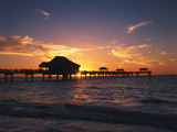 Clearwater Beach and Pier at Sunset, Florida, USA Photographic Print by Adam Jones