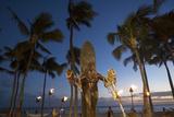 Duke Kahanamoku Statue, Twilight, Waikiki, Honolulu, Oahu, Hawaii, USA Photographic Print by Douglas Peebles