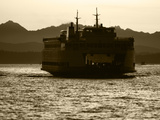 Ferry Boat at Sunset, Washington, USA Photographic Print by David Barnes
