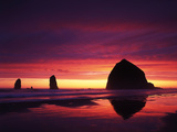 View of Haystack Rock on Cannon Beach at Sunset, Oregon, USA Photographic Print by Stuart Westmorland