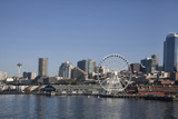 Seattle Waterfront with the Great Wheel on Pier 57, Seattle, Washington, USA Photographic Print by Charles Sleicher