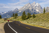 Road Biking in Grand Teton National Park, Wyoming, USA Fotoprint van Chuck Haney