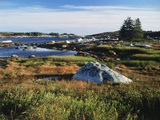 View of Sea with Coastline, Nova Scotia, Canada Photographic Print by Greg Probst