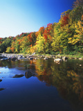 Autumn Trees Reflected in Deerfield River, Vermont, USA Photographic Print by Adam Jones