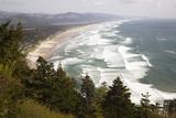 Neahkahnie Beach and Manzanita and Beach from Viewpoint, Oregon, USA Photographic Print by Jamie & Judy Wild