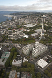 Aerial View of Seattle Center, Space Needle, and Puget Sound, Seattle, Washington, USA Photographic Print by John & Lisa Merrill