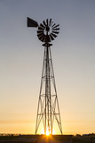 Old Windmill at Sunset Near New England, North Dakota, USA Photographic Print by Chuck Haney