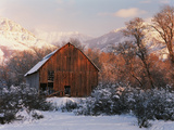 Barn Below Bear River Range in Winter, Utah, USA Photographic Print by Scott T. Smith