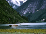 Sailboat in Tracy Arm, Fords Terror Wilderness, Alaska, USA Photographic Print by Howie Garber