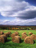 Farm Hay Bales in Field, Westmore, Vermont, USA Photographic Print by Adam Jones