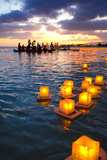 Lantern Floating Festival, Memorial Day, Ala Moana Park, Honolulu, Oahu, Hawaii, USA Photographic Print by Douglas Peebles