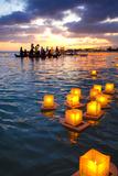 Lantern Floating Festival, Memorial Day, Ala Moana Park, Honolulu, Oahu, Hawaii, USA Photographic Print by Douglas Peebles