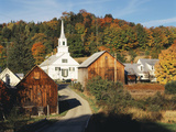 Waits River, View of Church and Barn, Northeast Kingdom, Vermont, USA Photographic Print by Walter Bibikow