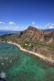 Aerial View of Lighthouse, Diamond Head, Waikiki, Oahu, Hawaii, USA Photographic Print by Douglas Peebles