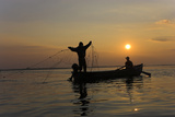 Fishing in the Danube Delta, Casting Nets During Sunset on a Lake, Romania Photographic Print by Martin Zwick