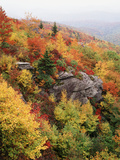 View of Autumnal Rocks, Blue Ridge Parkway, North Carolina, USA Photographic Print by Adam Jones
