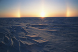 Arctic Coastal Plain, Sundog over Snowy Landscape, Alaska, USA Photographic Print by Hugh Rose