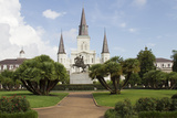 Statue, St. Louis Cathedral, Jackson Square, French Quarter, New Orleans, Louisiana, USA Photographic Print by Jamie & Judy Wild