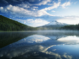 Trillium Lake, Mt Hood National Forest, Mt Hood Wilderness Area, Oregon, USA Photographic Print by Adam Jones