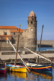 Boats, Eglise Notre Dame Des Anges Church, Collioure, Languedoc-Roussillon, France Photographic Print by Brian Jannsen