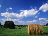 View of Hay Bales in Farm Field, Lexington, Kentucky, USA Photographic Print by Adam Jones