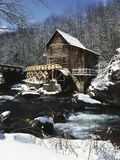 Old Water Wheel in Winter, Bailey Road, Cuyahoga Falls, Ohio, USA Photographic Print by Ian Adams