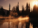 View of Reflection Lake Covered in Fog, Mt Rainier National Park, Washington, USA Photographic Print by Stuart Westmorland