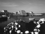 Fishing Nets and Houses at Harbor, Peggy's Cove, Nova Scotia, Canada Photographic Print by Greg Probst