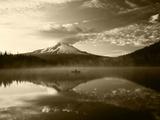 Fisherman, Trillium Lake, Mt Hood National Forest, Mt Hood Wilderness Area, Oregon, USA Photographic Print by Adam Jones