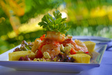 Cuisines, Shrimp Salad, Matangi Private Island Resort, Fiji Photographic Print by Douglas Peebles