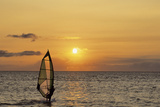 Sunset, Windsurfing, Ocean, Maui, Hawaii, USA Photographic Print by Gerry Reynolds