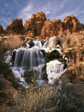 View of Frozen Waterfall of Mill Creek, Spanish Valley, Utah, USA Photographic Print by Scott T. Smith